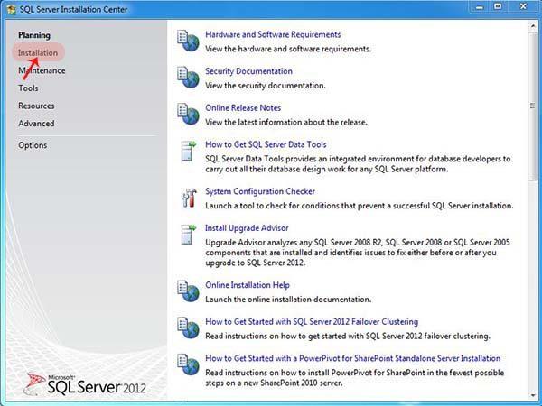 sql server yükleme başlangıç ekranı