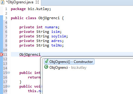 java constructor ekleme
