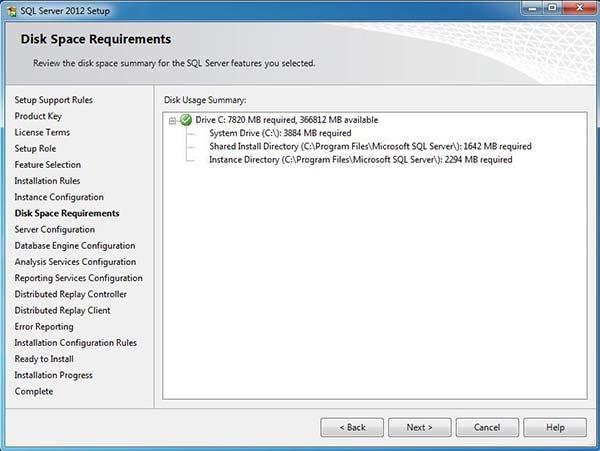 2012 sql server disk alanı