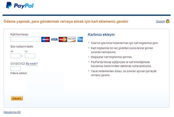 paypal kredi kartı
