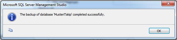 database backup completed