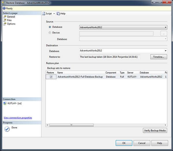 restore database settings