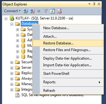 sqlserver restore database
