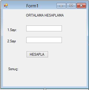 ortalama hesaplama formu