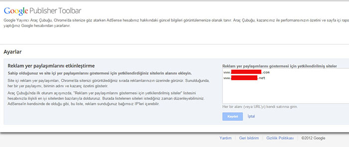 google publisher toolbar site ekleme